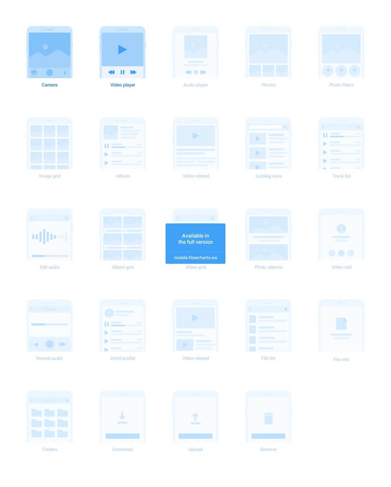 App 线框图模板免费下载 - Platforma Wireframes Flowcharts For Mobile