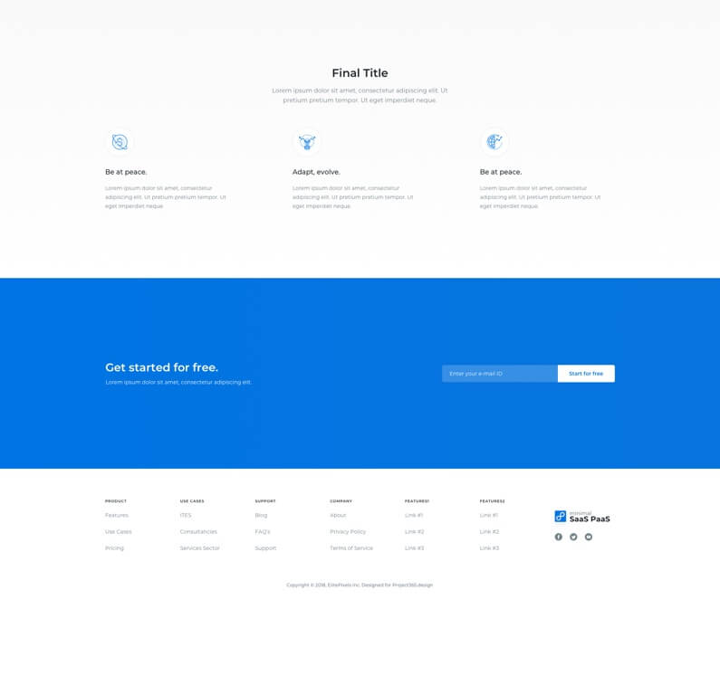 单面页面网站 Web UI KIT-SaaS Product Landing Page