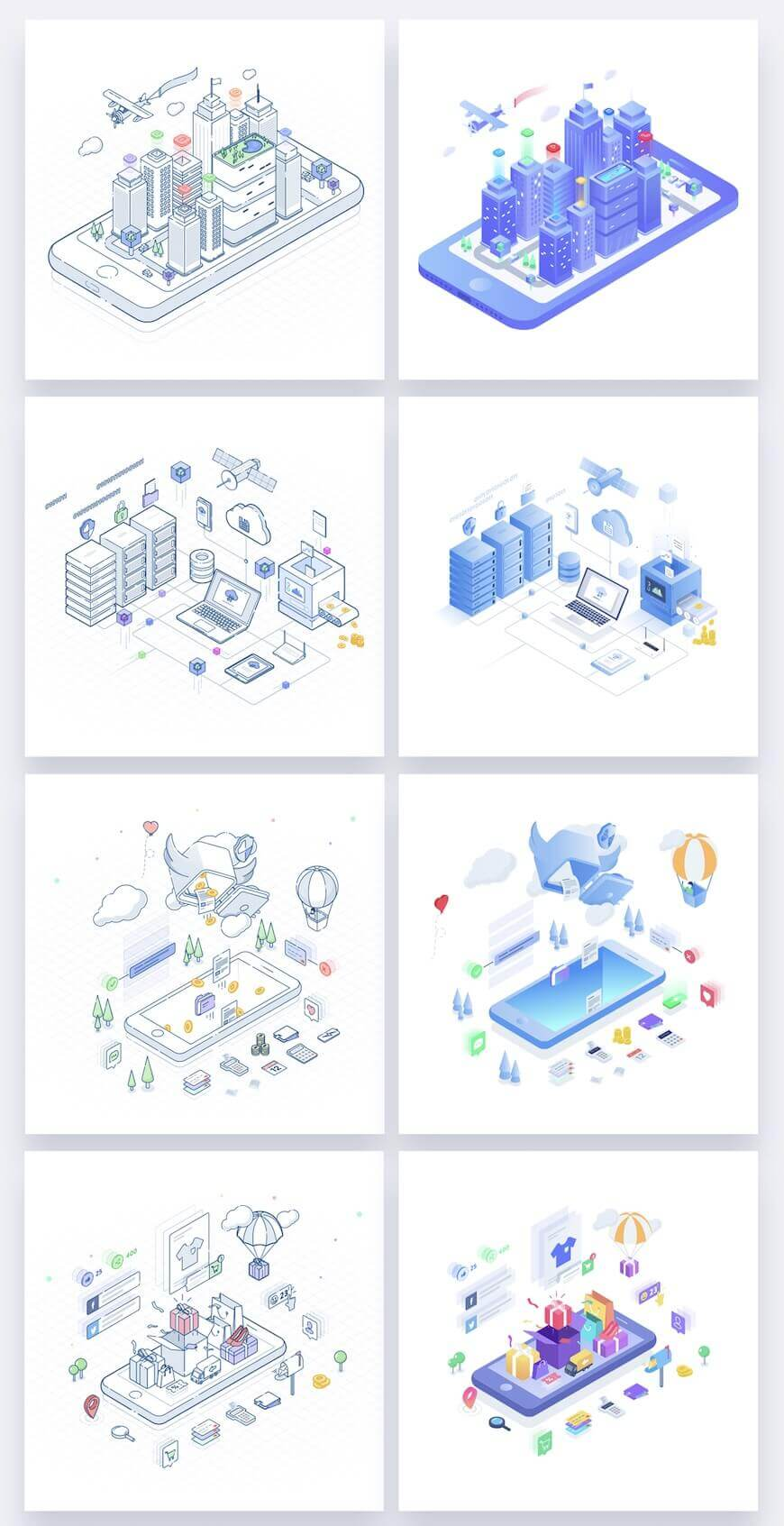 UI8·16张科技主题2.5D等距矢量插画-Isometric Illustrations Vol. 1
