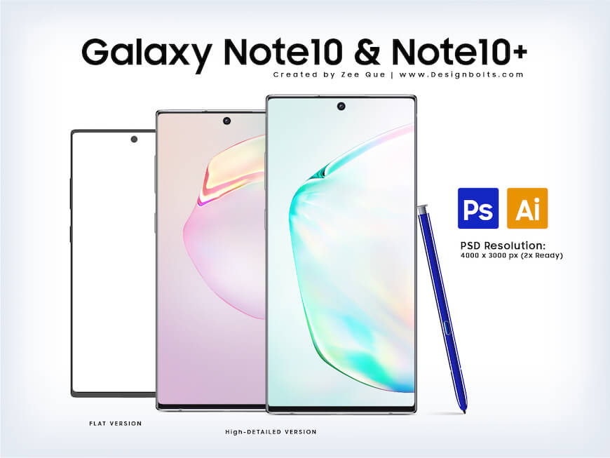 三星Note 10 样机Psd免费下载- Samsung Galaxy Note10 Mockup